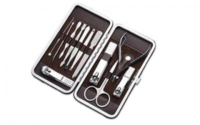 Cater Manicure, Nail Clippers Set of 12Pcs, Professional Grooming Kit, Nail Tools with Luxurious Travel Case (12)