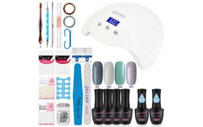 Gellen Gel Nail Polish Starter Kit with LED lamp Base Top Coat, Manicure Tools