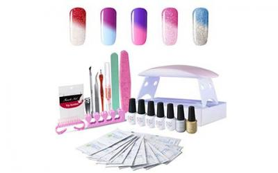 Gel Nail Polish Starter Kit, with UV LED Nail Dryer Manicure Tools 5 Color Changing Gel polish Top and Base Coat